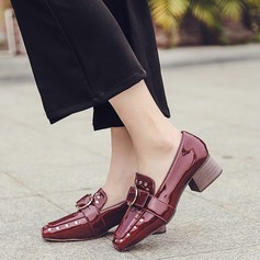 Women's Patent Leather Low Heel Flats With Rivet Buckle shoes