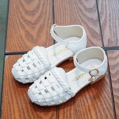 Mädchens Round Toe Leder Flache Ferse Sandalen Flache Schuhe Blumenmädchen Schuhe