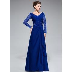 Vestidos princesa/ Formato A Decote V Longos De chiffon Renda Vestido para a mãe da noiva com Bordado Lantejoulas Babados em cascata