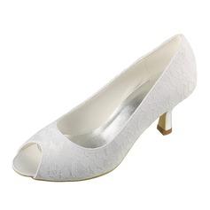 Dla kobiet Koronka Satyna Obcas Kaczuszka Otwarty Nosek Buta Sandały