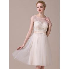 Vestidos princesa/ Formato A Decote redondo Coquetel Tule Renda Vestido de boas vindas