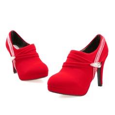 Kvinnor Mocka Kitten Heel Plattform Boots med Strass Spänne rynkad skor