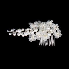 Elegant Imitert Perle/Silke blomst Kammer og Barrettes (Selges i ett stykke)