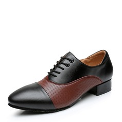 Men's Real Leather Flats Ballroom With Lace-up Dance Shoes (053103991)