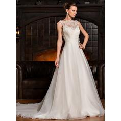 Vestidos princesa/ Formato A Decote redondo Cauda longa Organza de Renda Vestido de noiva com Pregueado fecho de correr