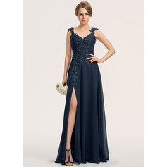 A-Line Sweetheart Floor-Length Chiffon Lace Prom Dresses With Beading Split Front