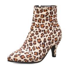 Femmes Suède Talon stiletto Bottines avec La copie Animale Zip chaussures