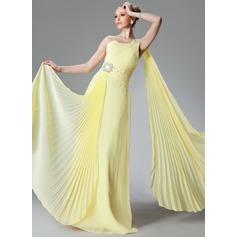 Corte A/Princesa Un sólo hombro Hasta el suelo Chifón Vestido de madrina con Bordado Plisado