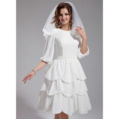 Forme Princesse Col rond Longueur genou Mousseline Robe de mariée avec Plissé