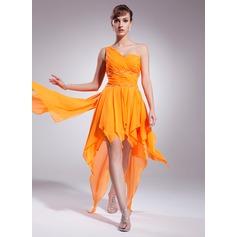 Çan/Prenses Tek-Omuzlu Asimetrik Chiffon Mezunlar Gecesi Elbisesi