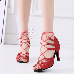 Dámské Mikrovlákno kůže Na podpatku Latinské Taneční boty