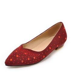 Frauen Veloursleder Niederiger Absatz Geschlossene Zehe Flache Schuhe mit Strass Andere