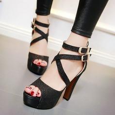 Женщины Мерцающая отделка Высокий тонкий каблук Сандалии Платформа Открытый мыс обувь