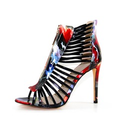 Women's Leatherette Stiletto Heel Sandals Peep Toe With Animal Print Split Joint shoes