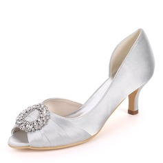 Women's Silk Like Satin Stiletto Heel Peep Toe Pumps With Rhinestone Ruched