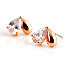 Heart Shaped Zircon/Gold Plated Ladies' Earrings
