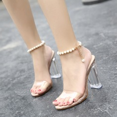 Women's Chunky Heel Sandals Pumps Peep Toe With Imitation Pearl shoes (087127104)