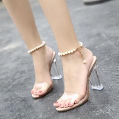 Женщины Устойчивый каблук Сандалии На каблуках Открытый мыс с Имитация Перл обувь