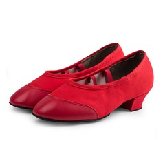 Women's Canvas Real Leather Pumps Modern Practice Dance Shoes