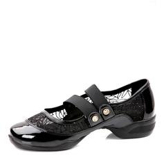 Femmes Cuir verni Mesh Talons Baskets Pratique Chaussures de danse