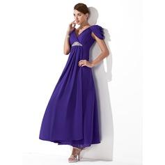 Forme Princesse Col V Longueur cheville Mousseline Robe de demoiselle d'honneur avec Plissé Emperler