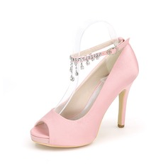 Women's Satin Stiletto Heel Peep Toe Platform Pumps Sandals With Buckle Rhinestone (047102122)