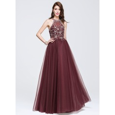 A-Line/Princess Scoop Neck Floor-Length Tulle Prom Dress With Beading Sequins (018075970)