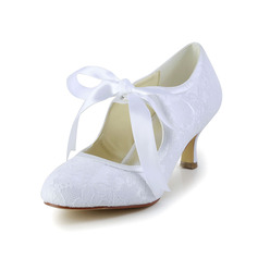 Women's Lace Satin Spool Heel Closed Toe Pumps With Ribbon Tie (047004932)