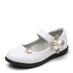 Ragazze Punta chiusa finta pelle Heel piatto Scarpe Flower Girl con Bowknot Perla imitazione Strass Velcro