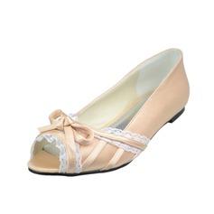 Kvinnor Satäng Flat Heel Peep Toe med Fören