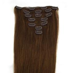 5A Virgin / remy Rakt människohår Klämma i hårförlängningar 7pcs 70g