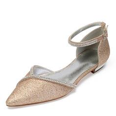 Femmes Pailletes scintillantes Talon plat Chaussures plates Sandales avec Strass Paillette Pailletes scintillantes