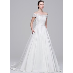 Ball-Gown Off-the-Shoulder Court Train Taffeta Lace Wedding Dress With Bow(s)