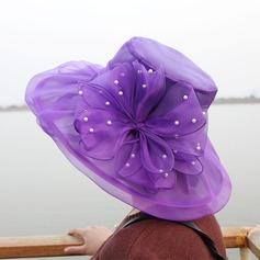Damene ' Romantisk Organza med Blomst Diskett Hatt