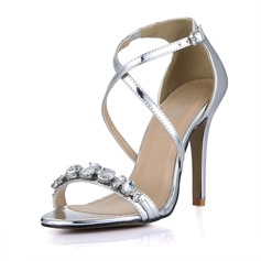 Women's Patent Leather Stiletto Heel Sandals Peep Toe With Rhinestone Buckle shoes