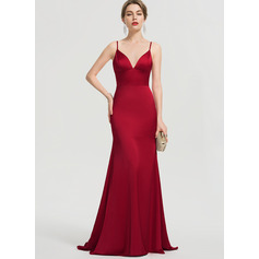 Trumpet/Mermaid V-neck Sweep Train Satin Prom Dresses (018192348)