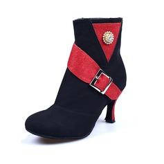 Femmes Nubuck Escarpins Bottes de Danse avec Strass Boucle Chaussures de danse