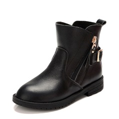 Girl's Real Leather Flat Heel Closed Toe Ankle Boots Martin Boots Boots With Buckle Zipper