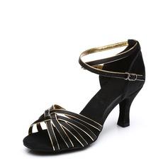Femmes Satiné Talons Sandales Latin avec Lanière de cheville Boucle Chaussures de danse