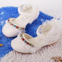 Jentas Lukket Tå Microfiber Lær flat Heel Flate sko Flower Girl Shoes med Profilering Syning Blonde Velcro