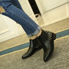 Frauen PU Flascher Absatz Flache Schuhe Stiefelette mit Niete Schuhe