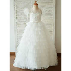 A-Line Sweep Train Flower Girl Dress - Tulle Short Sleeves Scoop Neck With Feather/Flower(s)