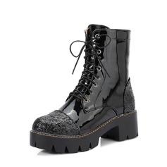 Vrouwen Kunstleer Chunky Heel Pumps Plateau Enkel Laarzen met Vastrijgen schoenen