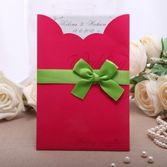 Personalized Classic Style Wrap & Pocket Invitation Cards With Ribbons (Set of 50)