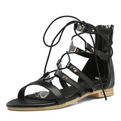 Donna Similpelle Tacco basso Sandalo Punta aperta con Allacciato scarpe