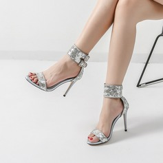 Women's Sparkling Glitter Stiletto Heel Sandals Pumps Peep Toe With Sequin Buckle shoes