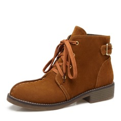 Women's Suede Chunky Heel Boots Ankle Boots With Buckle Lace-up shoes