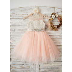 A-Line/Princess Knee-length Flower Girl Dress - Satin/Tulle/Lace Sleeveless Scoop Neck With Beading (Undetachable sash) (010131727)