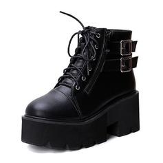 Kvinner Lær Kile Hæl Lukket Tå Støvler Ankelstøvler med Båndknute sko