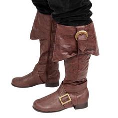 Vrouwen Kunstleer Chunky Heel Flats Laarzen Knie Lengte Laarzen met Gesp schoenen